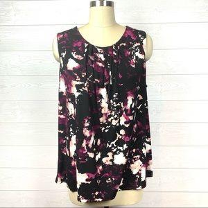 Calvin Klein Print Shell Sleeve Sleeveless Blouse